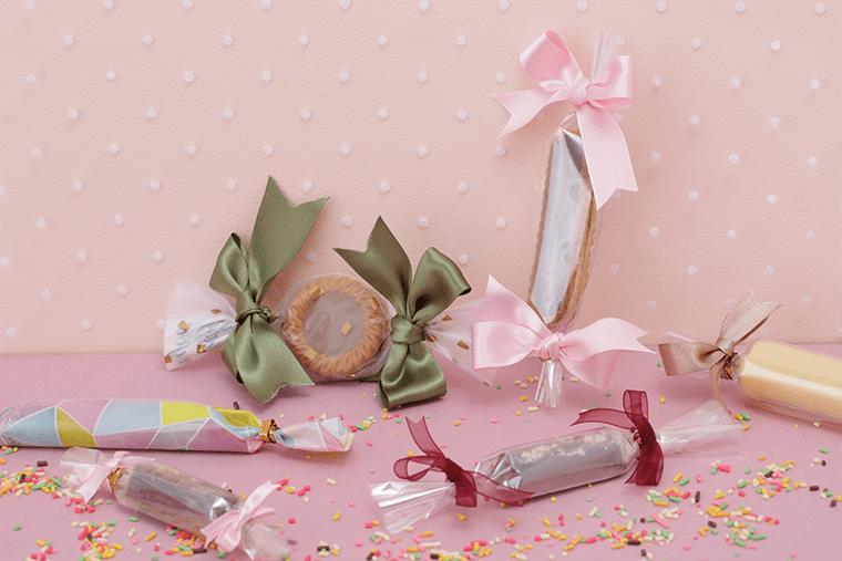 チョコバーなど細長いお菓子のラッピング