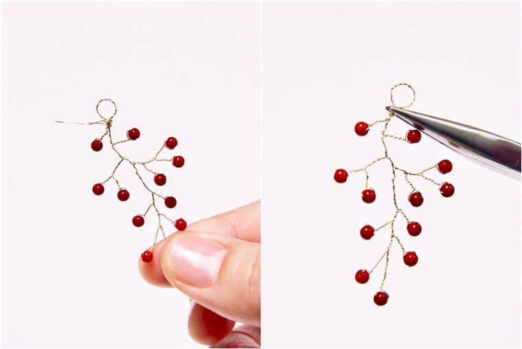 ワイヤーで作る小枝のピアス