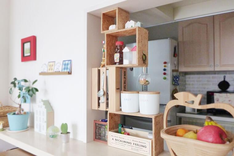 木箱で作る調味料棚
