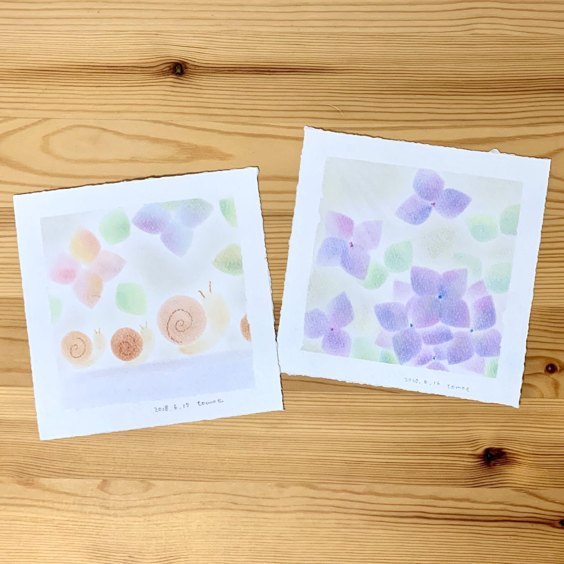 6月「季節のパステル」紫陽花・かたつむり(※作品展会場にて開催)の写真